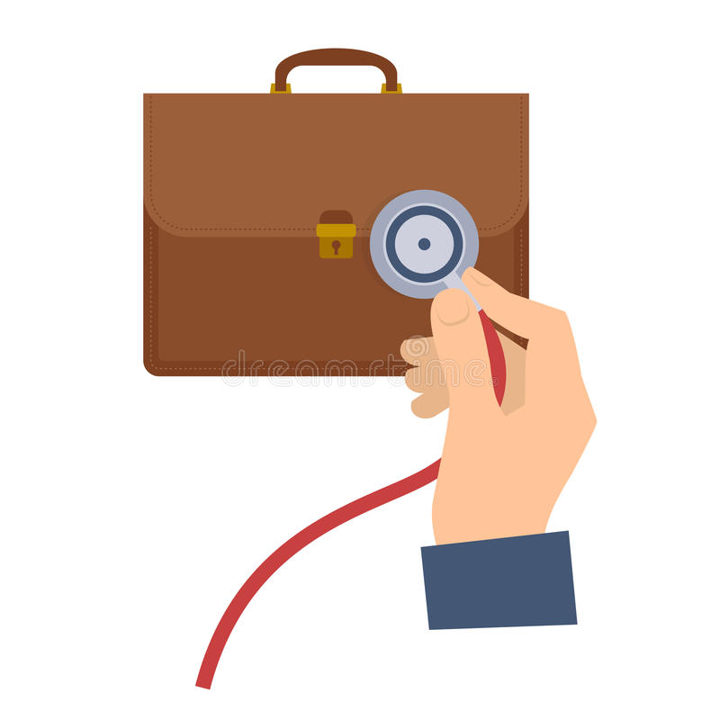 Doradca gospodarczy używa stetoskop na teczce ilustracji