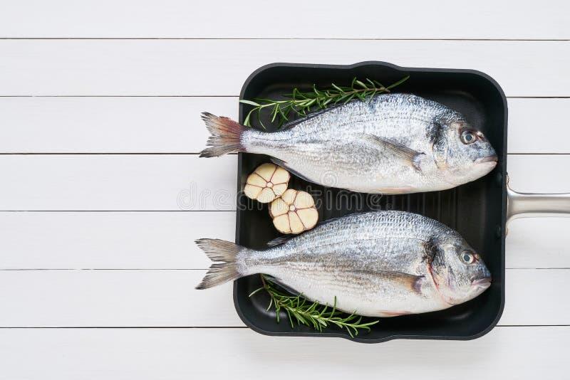 Dorado 2 сырцовое рыб леща моря со специей в лотке на белом деревянном столе E Среднеземноморская концепция морепродуктов стоковое изображение