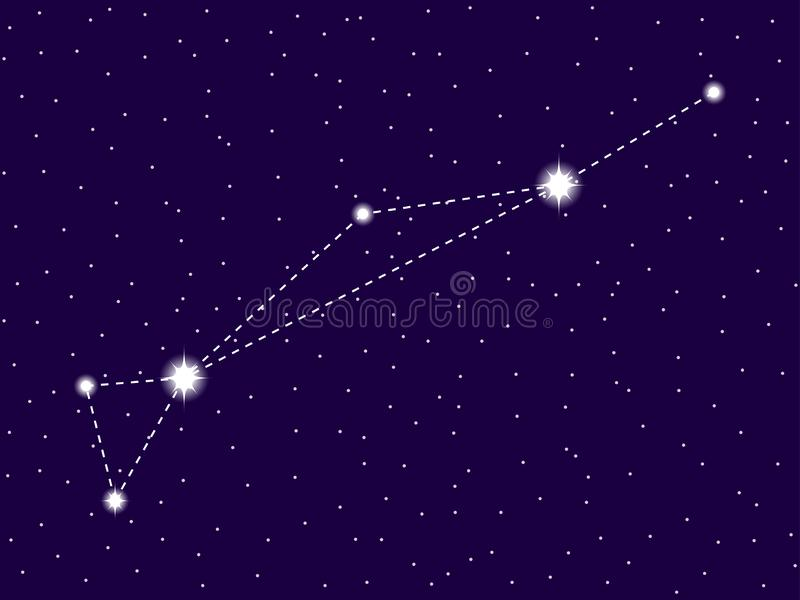 Dorado constellation. Starry night sky. Cluster of stars and galaxies. Deep space. Vector royalty free illustration