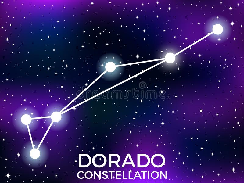Dorado constellation. Starry night sky. Cluster of stars and galaxies. Deep space. Vector. Illustration vector illustration