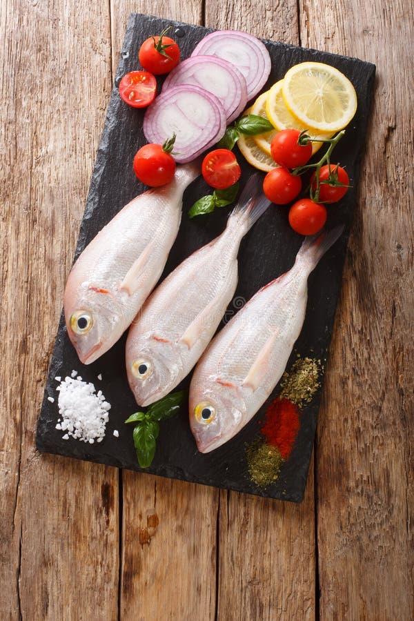 Dorado cru ou poissons tête jeune de dorade avec la fin d'épices, de tomate, d'oignon et de citron sur un panneau d'ardoise Vue s photos stock