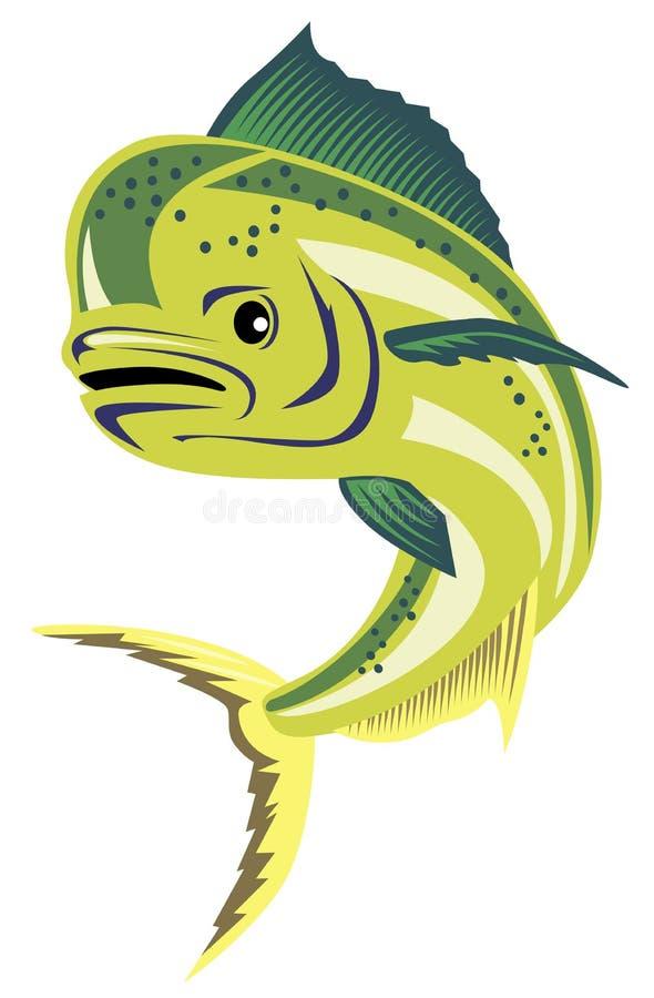 Dorado dolphin fish. Vector art of a Dorado dolphin fish royalty free illustration