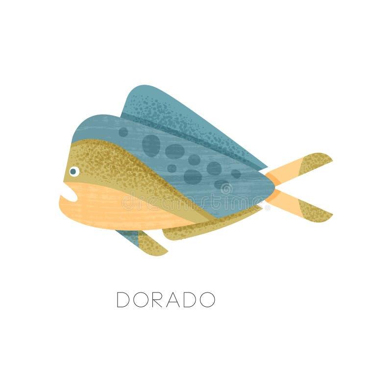 Dorado fisk med dengräsplan kroppen, sidosikt Invånare av havet Marin- varelse Plan vektorsymbol med textur stock illustrationer
