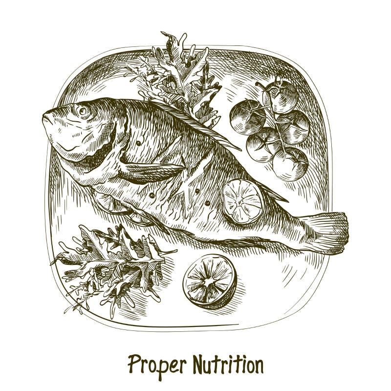 dorado Ingrediënten en kruiden voor het koken van vissen royalty-vrije illustratie