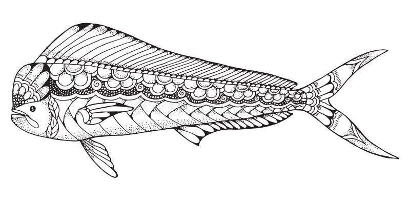 Dorado mahi mahi鱼zentangle和被点刻的风格化传染媒介不适 库存例证