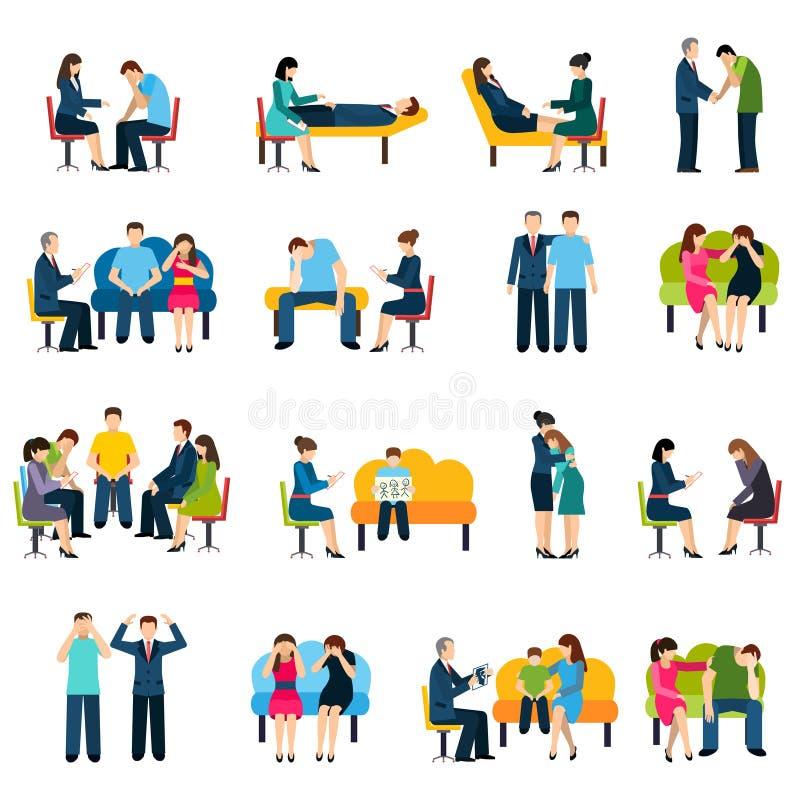 Doradzający grup pomocy Płaskie ikony Ustawiać ilustracji