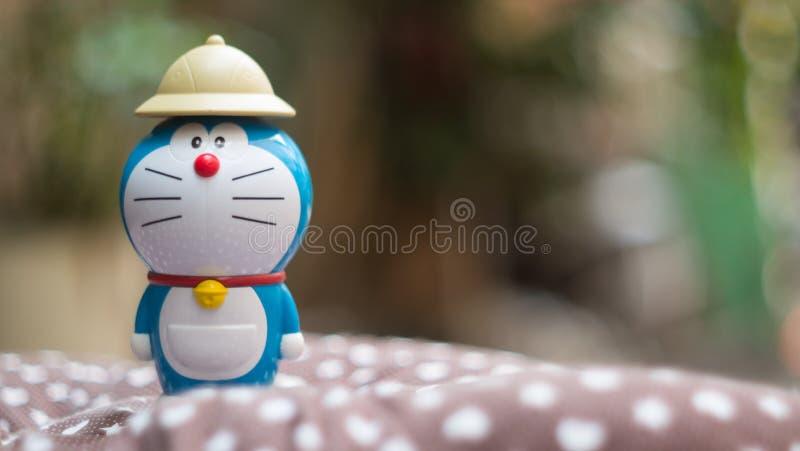 Doraemon有Bokeh背景 免版税库存图片