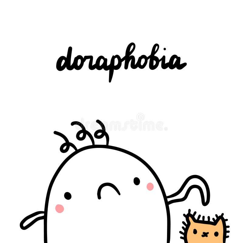 Doraphobia ręka rysująca ilustracja z ślicznego marshmallow wzruszającym kotem royalty ilustracja