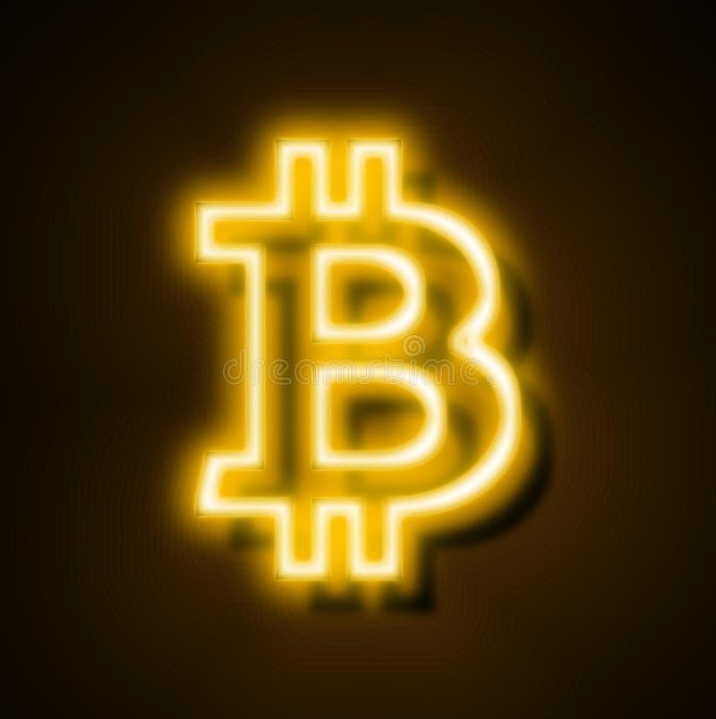 Dorato al neon digitale di valuta di Internet di Bitcoin illustrazione di stock