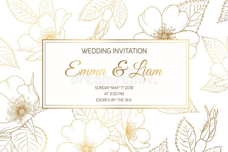 Dorato brillante di lusso rosa selvaggio dell'invito di nozze illustrazione di stock