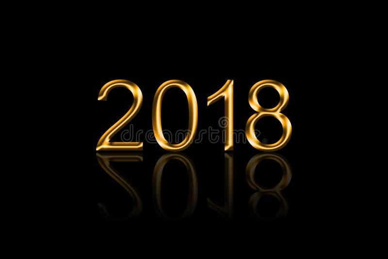 2018 dorato con la riflessione su fondo nero fotografia stock