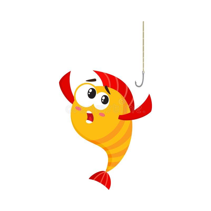 Dorato divertente, carattere del pesce di giallo con viso umano ha spaventato del gancio di pesca illustrazione vettoriale