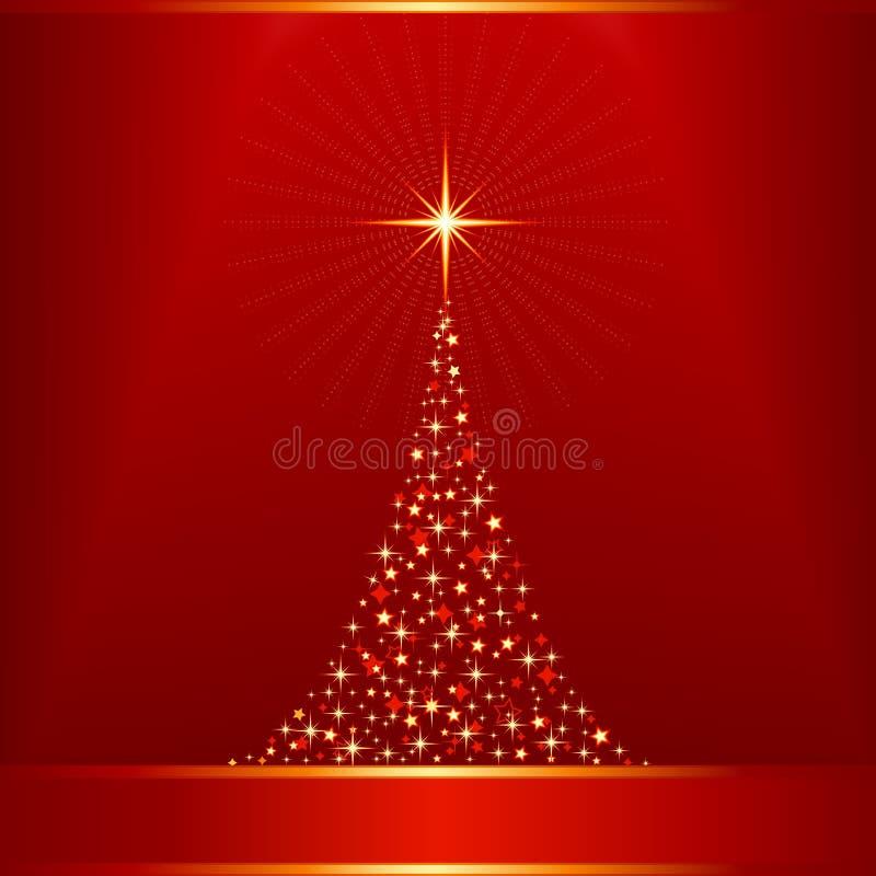 Dorato rosso con l'albero di Natale e la renna royalty illustrazione gratis