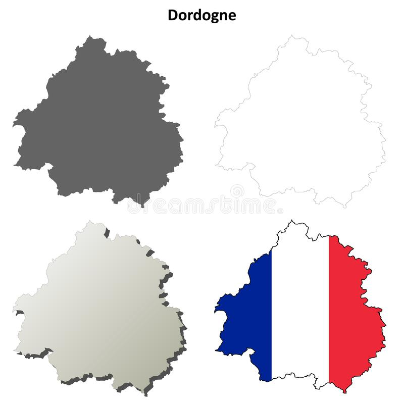 Dordogne, Aquitaine σύνολο χαρτών περιλήψεων ελεύθερη απεικόνιση δικαιώματος
