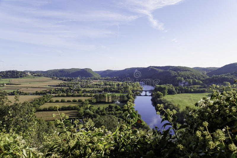Dordogne panorama fotografering för bildbyråer