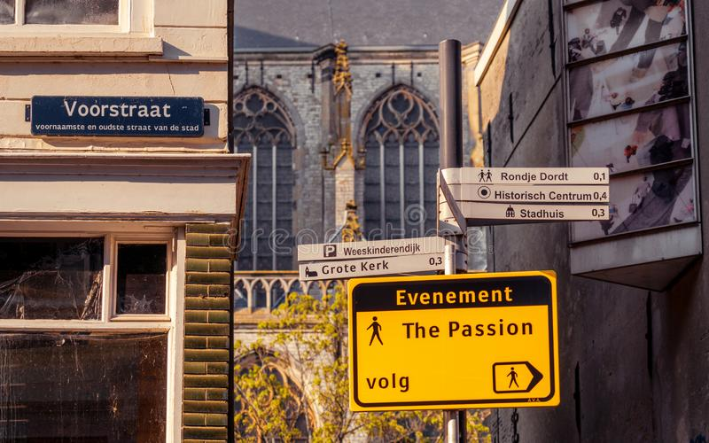 Pedestrian signboard in preparation for The Passion stock photography