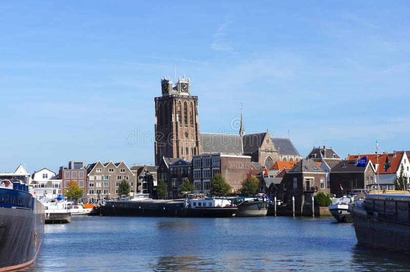 Dordrecht, the Netherlands. October 2018. Church called the Grote of Onze-Lieve-Vrouwekerk Dordrecht, South Holland province, the Netherlands stock images