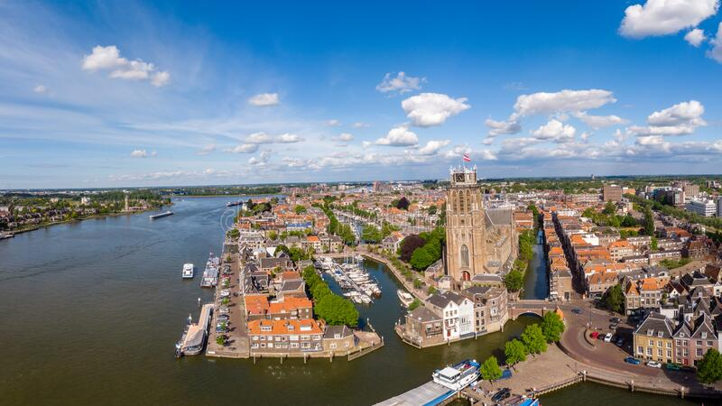 Dordrecht Netherlands, skyline of the old city of Dordrecht with church and canal buildings in the Netherlands. Europe royalty free stock images