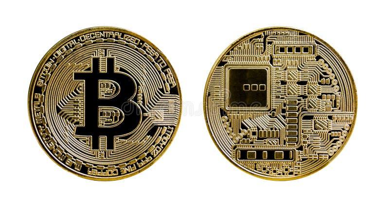 Dorez la pièce de monnaie de bitcoin d'isolement sur le fond blanc illustration libre de droits