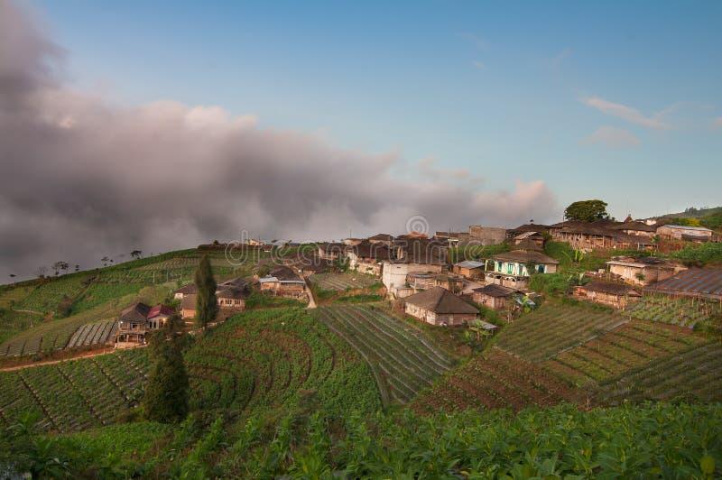 Dorf über dem Himmel an Mt Sumbing-Zentrale Java Indonesia lizenzfreie stockbilder