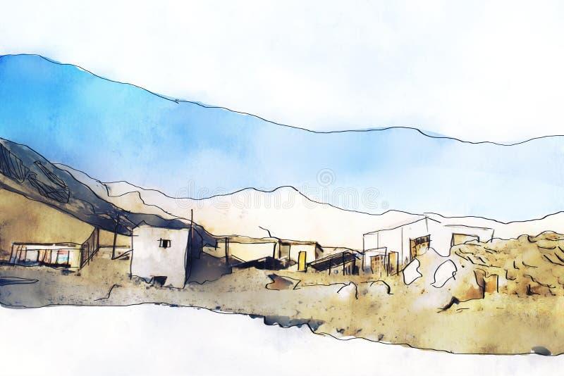 Dorf in der Landschaft mit Gebirgshintergrund Farbiges Bild stock abbildung