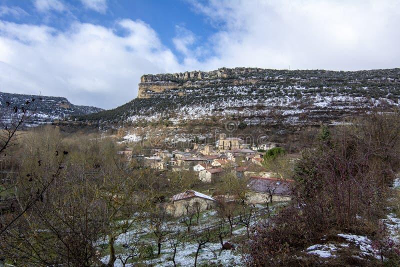 Dorf Escalada der Provinz von Burgos ein Wintertag lizenzfreies stockfoto