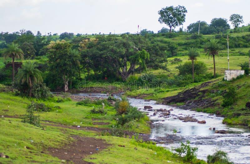 Dorf-Fluss und Palmen stockbilder