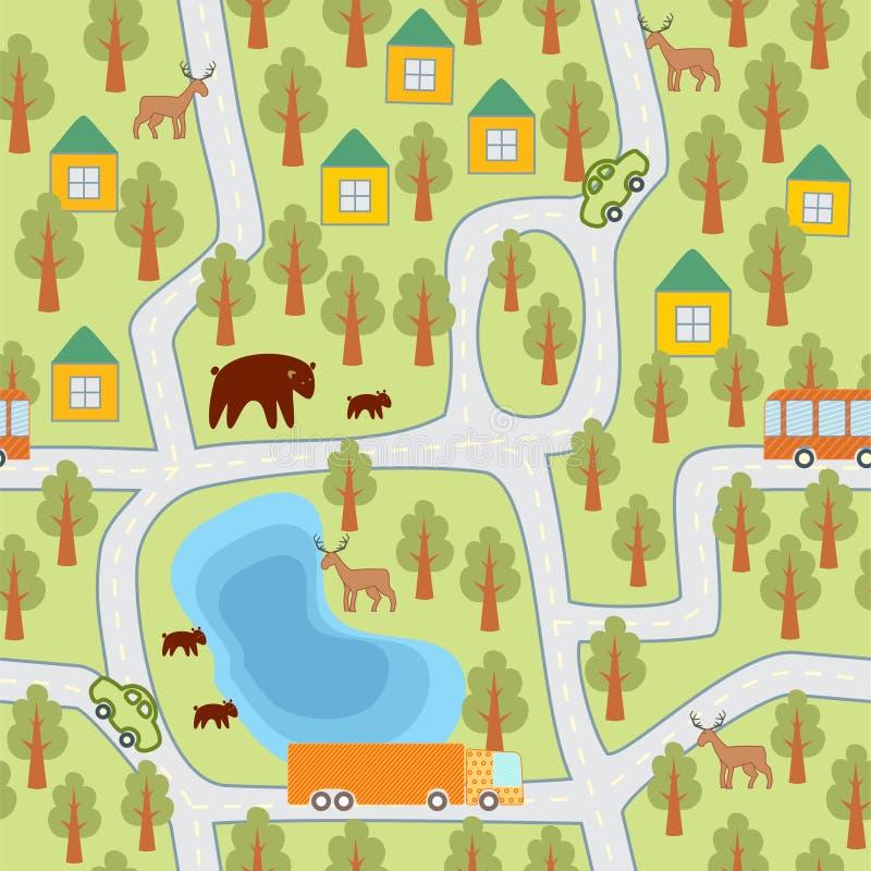 Dorf im Waldnahtlosen Muster lizenzfreie abbildung