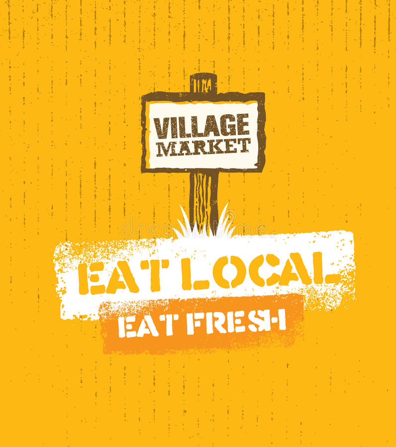 Dorf-Markt-raues Stempel-Vektor-Konzept Lokale Lebensmittel-Zeichen-Illustration auf Kraftpapier-Hintergrund stock abbildung