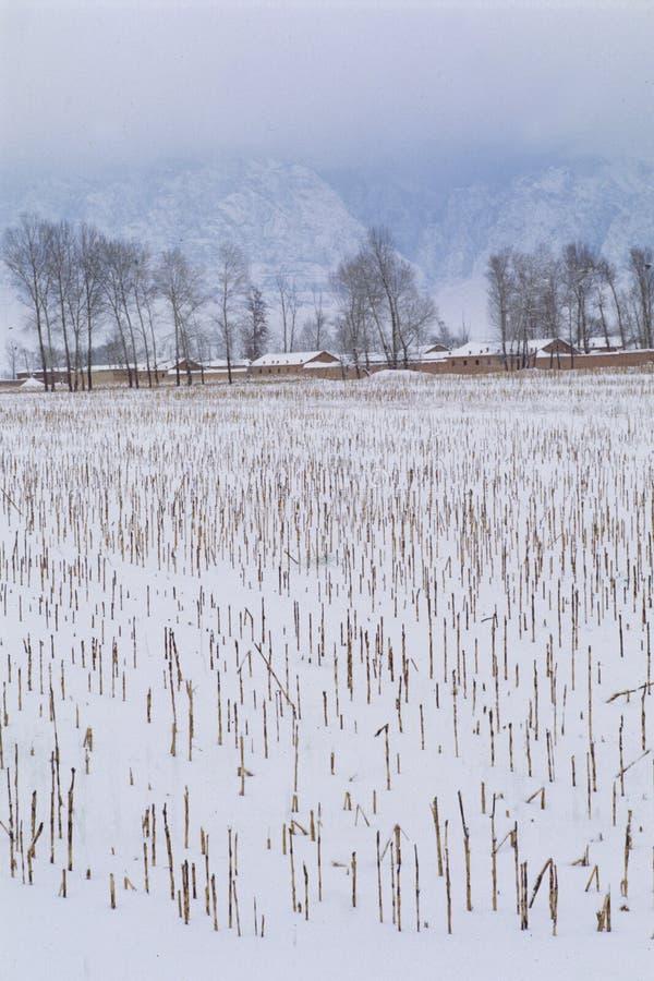Dorf nach Schnee stockbilder