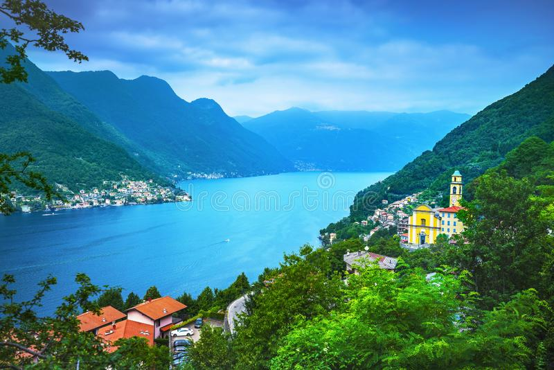 Dorf Pognana Lario und Torriggia, Como See-Bezirk Landscap lizenzfreie stockfotos