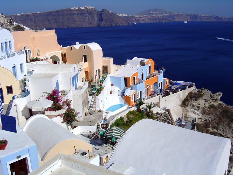Dorf in Santorini, Griechenland lizenzfreie stockbilder
