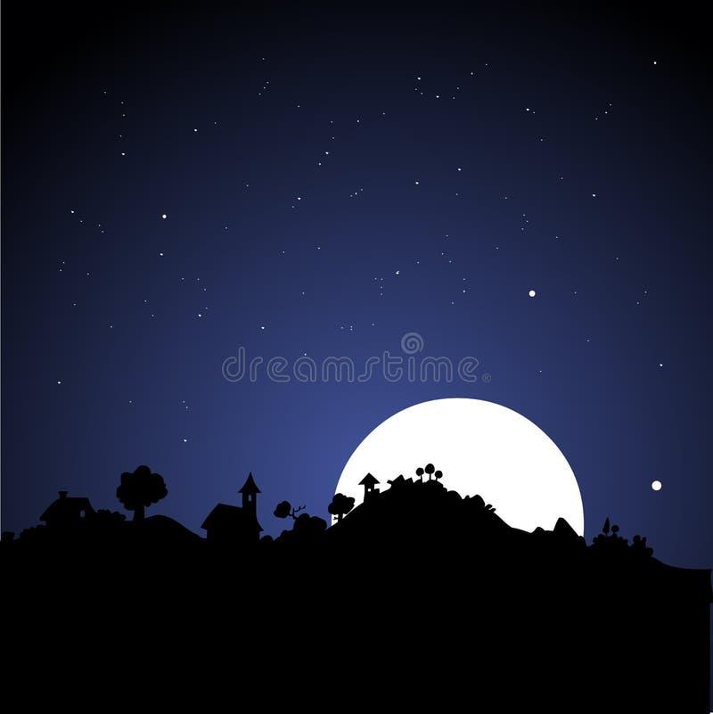 Dorf-Skyline nachts lizenzfreie abbildung