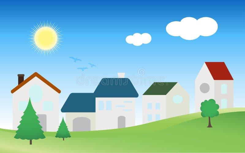 Dorf-Stadt-Haus-Vektor stockfoto