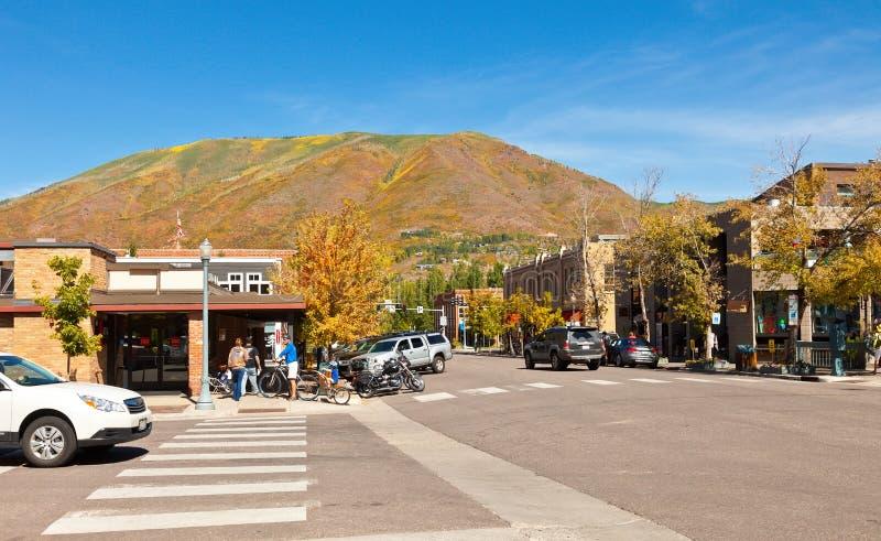 Dorf von Aspen, Kolorado stockbild