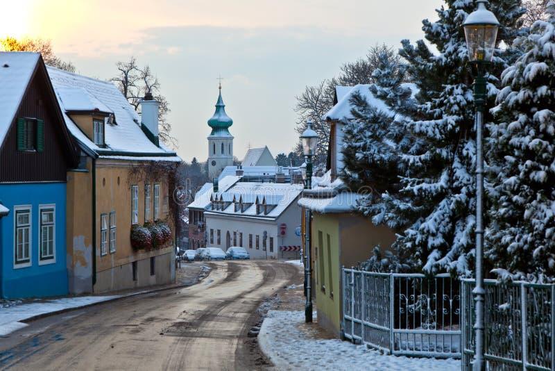 Dorf von Grinzing im Licht des frühen Morgens in der Winterzeit lizenzfreie stockbilder