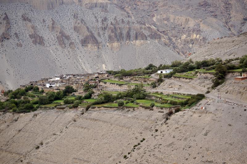 Dorf von Tangbe 3040 m in den Himalajabergen Trekking zur geschlossenen Zone des oberen Mustangs nepal stockbilder