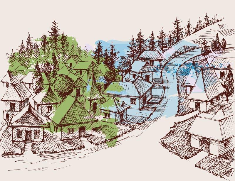 Dorfhandzeichnung vektor abbildung