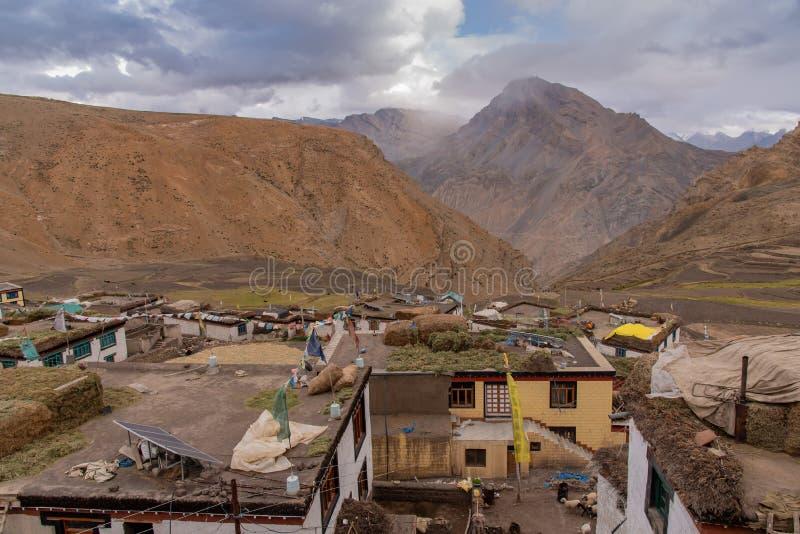 Dorfleben, Spiti, tibetanisch, himachal lizenzfreies stockbild