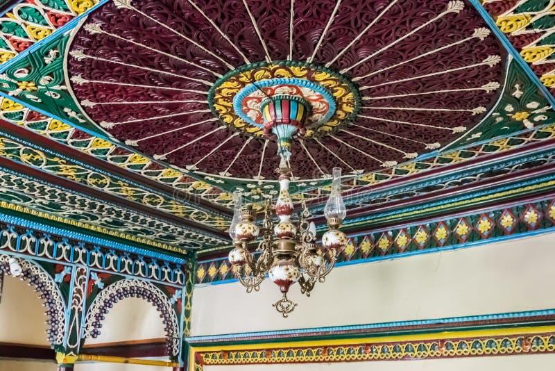 Dorfräume Gumushane Saricicek, ein populäres Haus für seine hölzernen Dekorationen stockbild