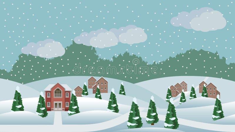 Dorfwinter Weihnachtslandschaftsszene vektor abbildung