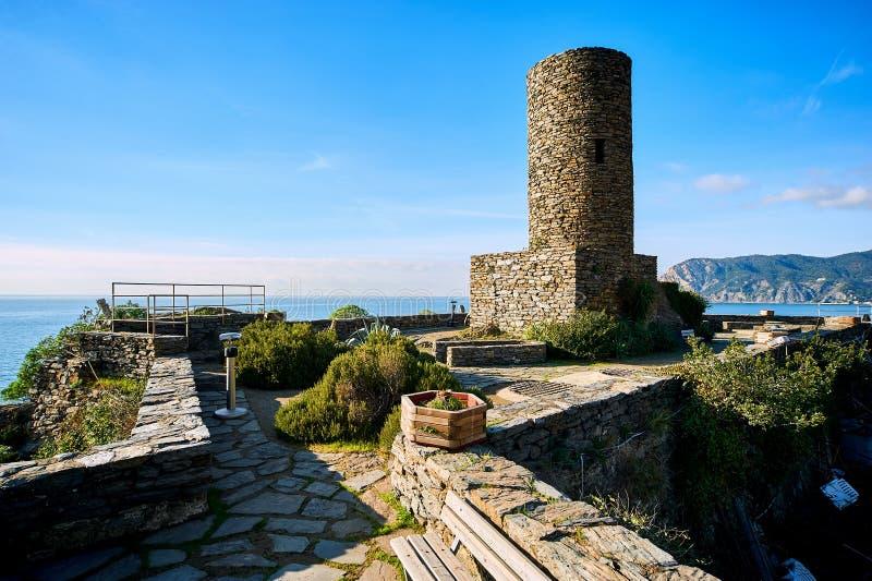 Doria castle in Vernazza. Italy royalty free stock image