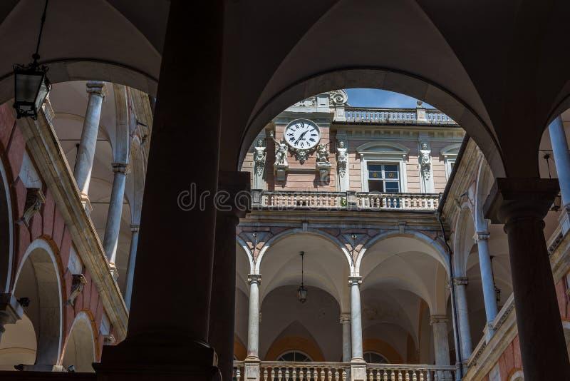 Doria Tursi palace of Genova. Liguria, Italy. Genova, Italy - July 26, 2016. Inside of Palazzo Doria Tursi of Genova. Liguria, Italy stock photography