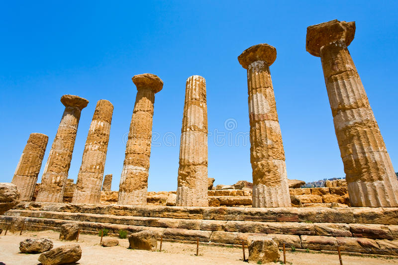 Dorian columns of Temple of Heracles Sicily. Dorian columns of Temple of Heracles in Valley of the Temples in Agrigento, Sicily stock photos