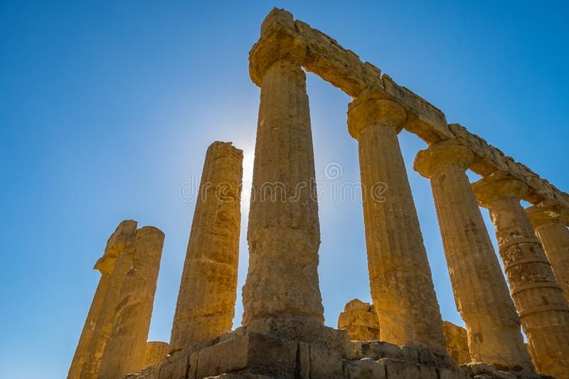 Doric columns of Colonnade, ruins Ancient greek Temple of Juno, ancient architecture Agrigento, Sicily royalty free stock photography