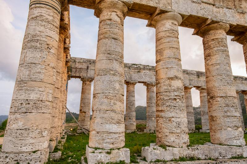 Doric columns of greek temple of Segesta, ruined roman architecture of ancient civilization stock photography