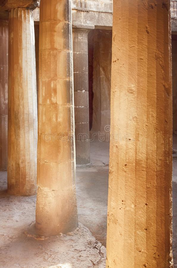 Doric columns in the Tombs of the Kings. Paphos, Cyprus royalty free stock photography