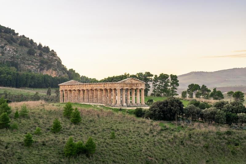 Doric greek temple of Segesta in Sicily, Italy royalty free stock photography