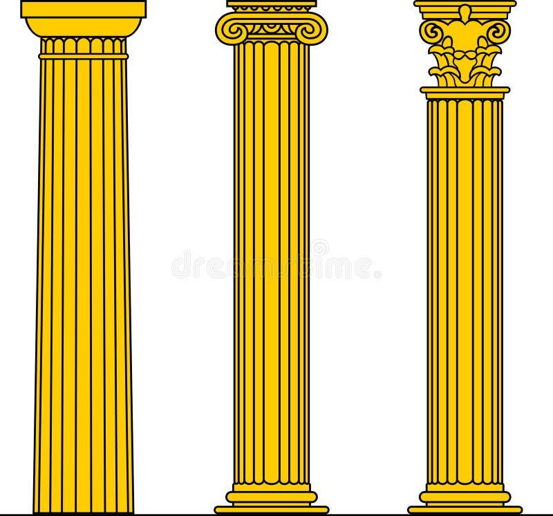 Doric, iónico & Corinthian ilustração stock