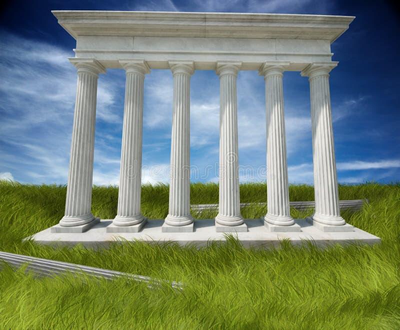doric kolonner fördärvar royaltyfri illustrationer